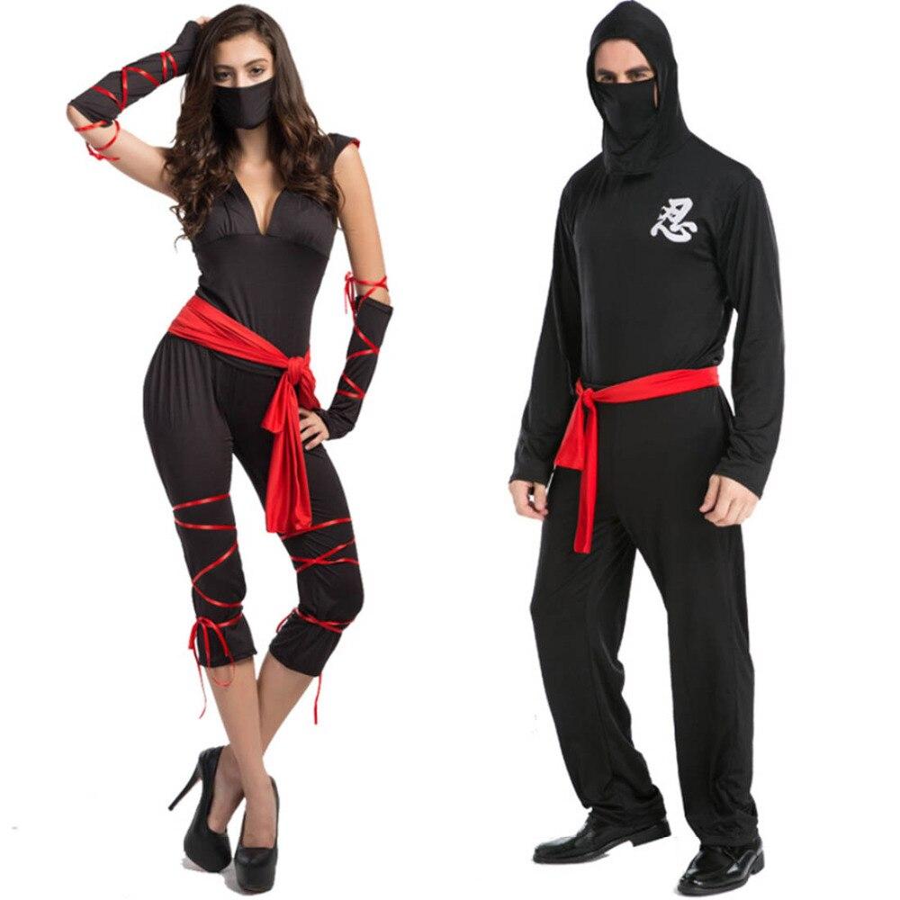 ninja traje pareja traje de fiesta de disfraces de halloween para las mujeres adultos hombres ninja