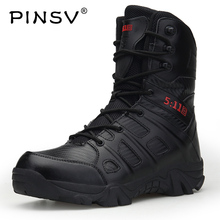 PINSV Men Desert Military Tactical Boots Fashion Casual Shoes Mens Work Combat Boots Army Outdoor Hiking Boot Size 39-47