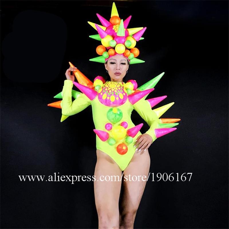 News Sexy Girl Stage Performance Ballrooom Costume Clothes Women Dancer DJ Singer Suit Headwear