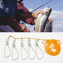 5M Fishing Lock Buckle Stainless Steel Live Fish Belt Stringer Tackle for Accessories