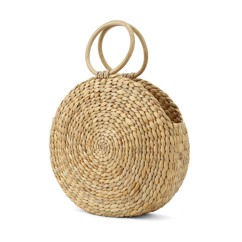 Beach bag round straw totes basket bucket bag summer bags women handbag braided 2018 new high quality Rattan Bag in Top Handle Bags from Luggage Bags