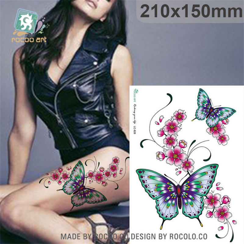Waterproof Tatoo Temporary Stickers For Lady Women Butterfly Flower Design Large Arm Tattoo Sticker Free Shipping LC2828