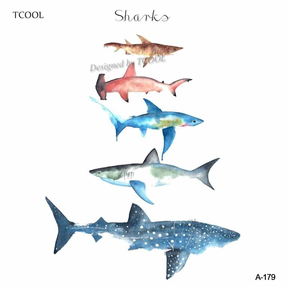 HXMAN Colorful Sharks Temporary Watercolor Tattoo Sticker Waterproof Women Fake Body Art Tattoos 9.8X6cm Kids Hand Tatoo A-179