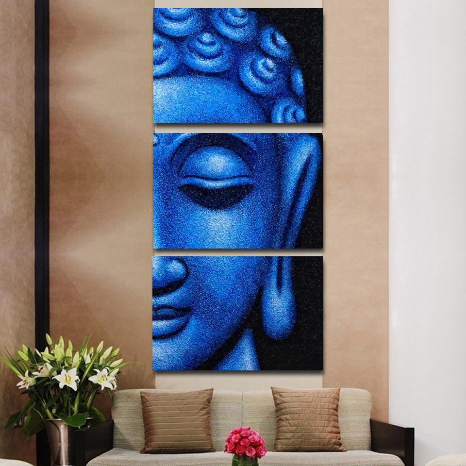 3ks Abstract Buddha Modern Home Decor Canvas Print Painting Wall Art - obrázek pro Living Room Modular Picture No Framed