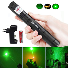 303 Green Laser Pointer dot 532nm 5mW Pen Adjustable Powerful Starry Head Burning Match With 18650 Battery+Charger