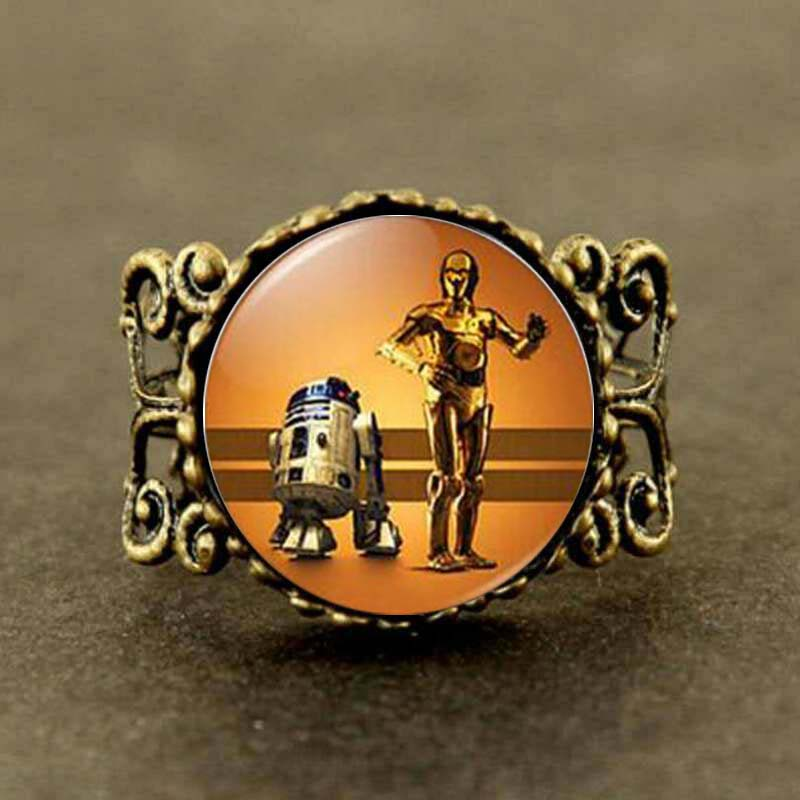 Watch Star Wars R2D2 and C-3PO Robots Star Wars Choker Star Wars Ring Colares Femininos image