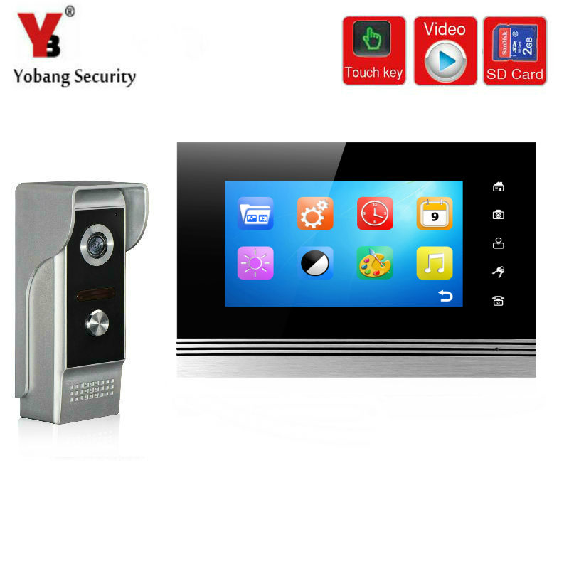 YobangSecurity 7 Inch Wired Rainproof Video Door Phone Doorbell Chime Intercom with Video Recording and Photo Taking Function the door chai non visual intercom doorbell telephone rainproof function
