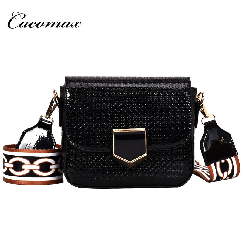 2018 new Korean version Women hit color Messenger Messenger bag wide strap fashion buckle female small square bag 2018 new female korean version of the bag with a small square package side buckle shoulder messenger bag packet tide