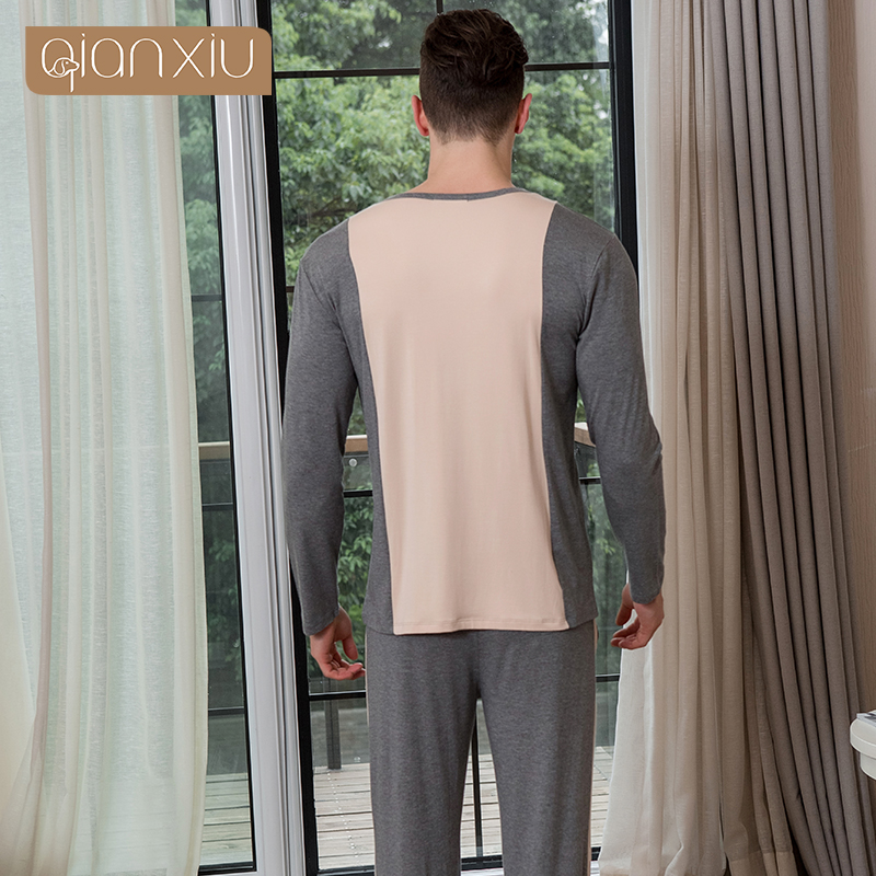 AQianxiu Pajamas For Men Modal Patchwork Set Long-sleeve Lounge Wear Casual Homewear 91409