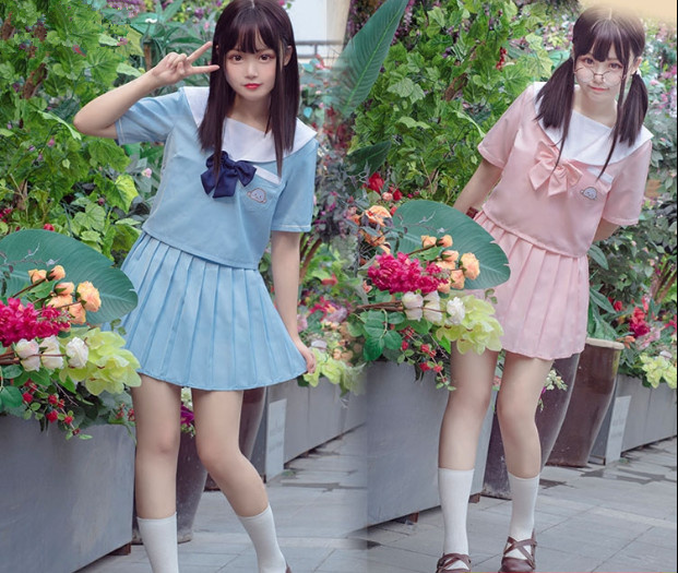 Japanese School Uniform For Girls Sailor Tops+Tie+Skirt Navy Style Students Clothes For Girl Plus Size Lala Cheerleader Clothing