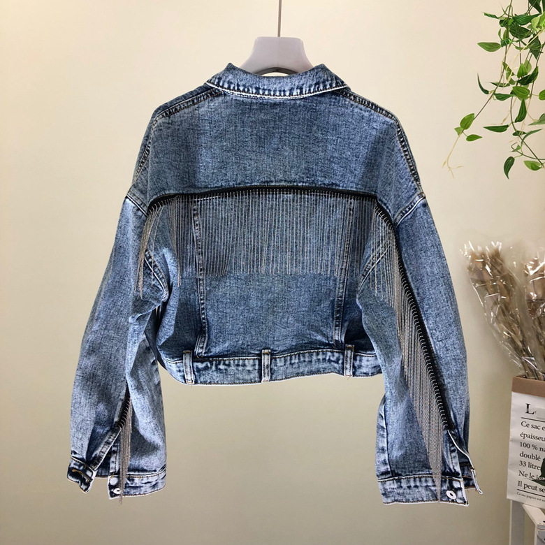Fashion heavy duty tassel small chain wash short jacket denim womens Autumn bat sleeve jeans woman