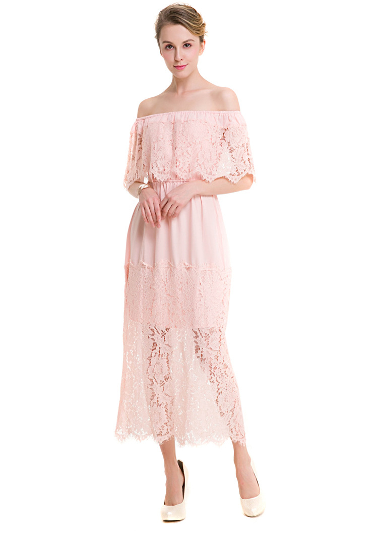 Sexy Slash Neck Off the Shoulder Patchwork Lace Party Dress Clothing Female Elegant Office Work Lace Perspective Long Dress