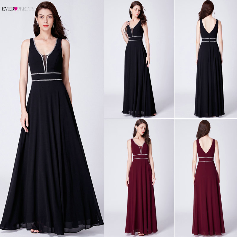 Crystal Evening Dresses Ever Pretty EP07442 Burgundy Chiffon Black Formal Dress Women Elegant V neck Sleeveless