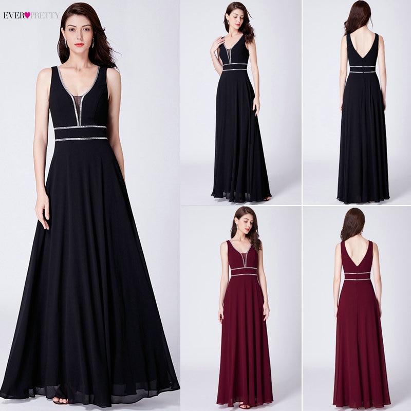 Вечерние платья расшитые кристаллами Ever Pretty EP07442 бордовые шифоновые черное вечернее платье женские элегантные v-образный вырез без рукавов ...