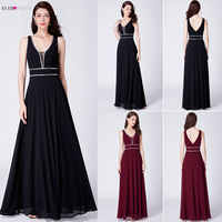Crystal Evening Dresses Ever Pretty EP07442 Burgundy Chiffon Black Formal Dress Women Elegant V-neck Sleeveless Long Party Gowns