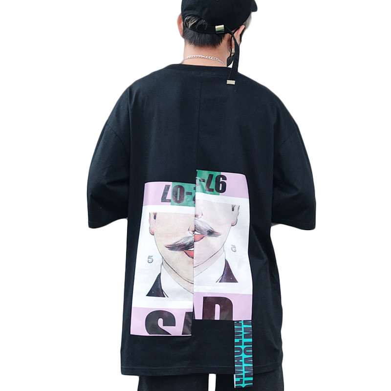 VERSMA 2017 Japanese Harajuku BF Ribbon Patchwork Printed T-shirts Men Women Summer Hip Hop Streetwear Loose Couple Tshirts Men