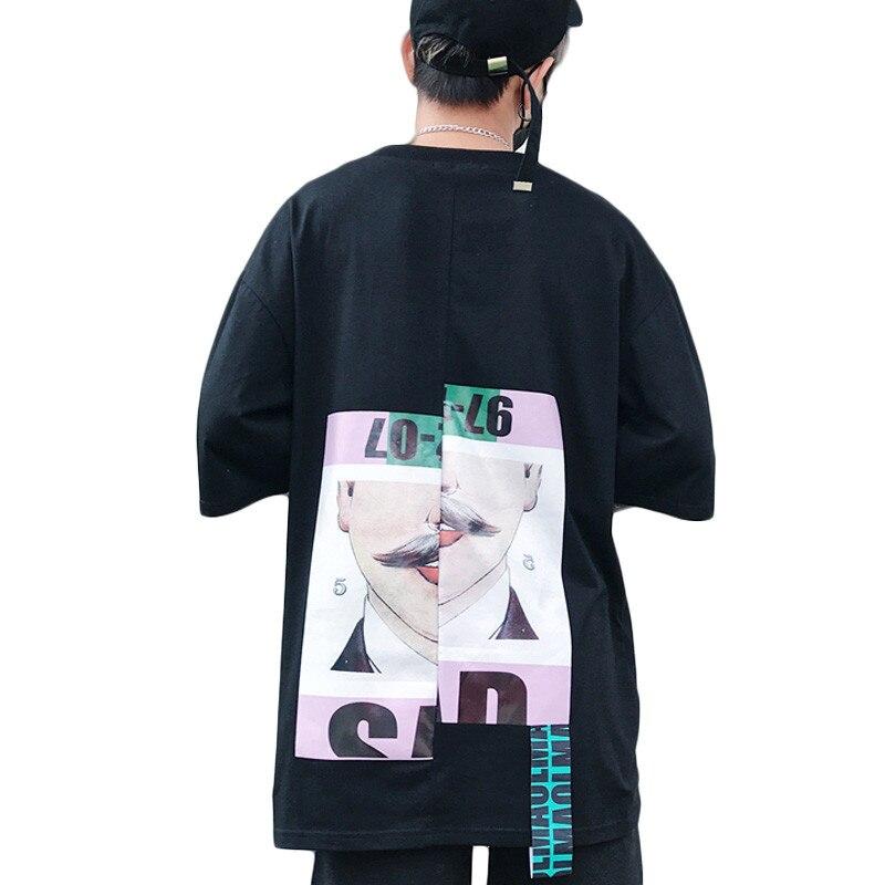 VERSMA 2017 Japonais Harajuku BF Ruban Patchwork Imprimé T-shirts Hommes Femmes D'été Hip Hop Streetwear Lâche Couple T-shirts Hommes
