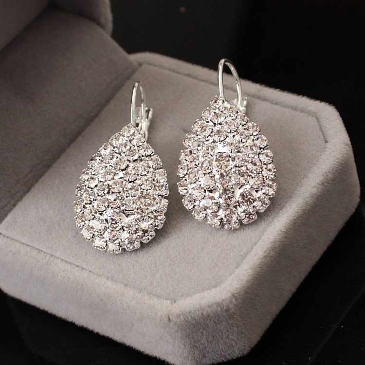 2018 New Women Boucle D'oreille Crystal Jewelry White silver Dazzling Cubic Zirconia Rhinestone Wedding Earrings Stud Brincos