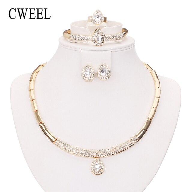 CWEEL Bridal Jewelry Sets Fashion Indian Wedding Imitation Crystal Dubai For Women Costume