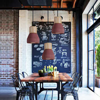4 color brief Loft Nordic Style wood Cement Pendant lights modern Light led E27 cord lamp Restaurant living room cafe bedroom