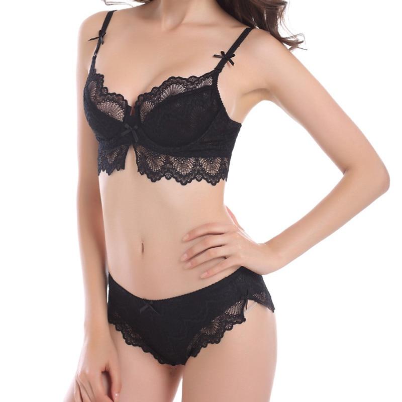 Bra Set Black Lace Lingerie Women Plain Adjustable & Brief Sets 2018 Spring Summer Sexy Underwear
