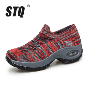 Image 2 - STQ 2020 Autumn Women Sneakers Shoes Slip On Flat Platform Wedges Sneakers For Women Mesh Sock Casual Sneakers Shoes Woman 1839