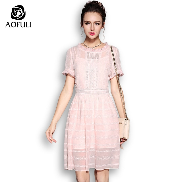 bf4e974b914 AOFULI S- Xxxl 4xl 5xl Plus Size Summer Women Short Dress 2018 Solid Pink  Sundress With Short Sleeves Lace Patchwork 5375