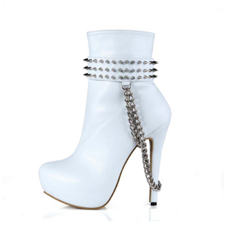 Hot Sale Ankle Boots Side Zip Spring Women Short Boots High Heels Shoes Woman Chain Decor Rivets Motorcycle Botas Botines Mujer цена и фото