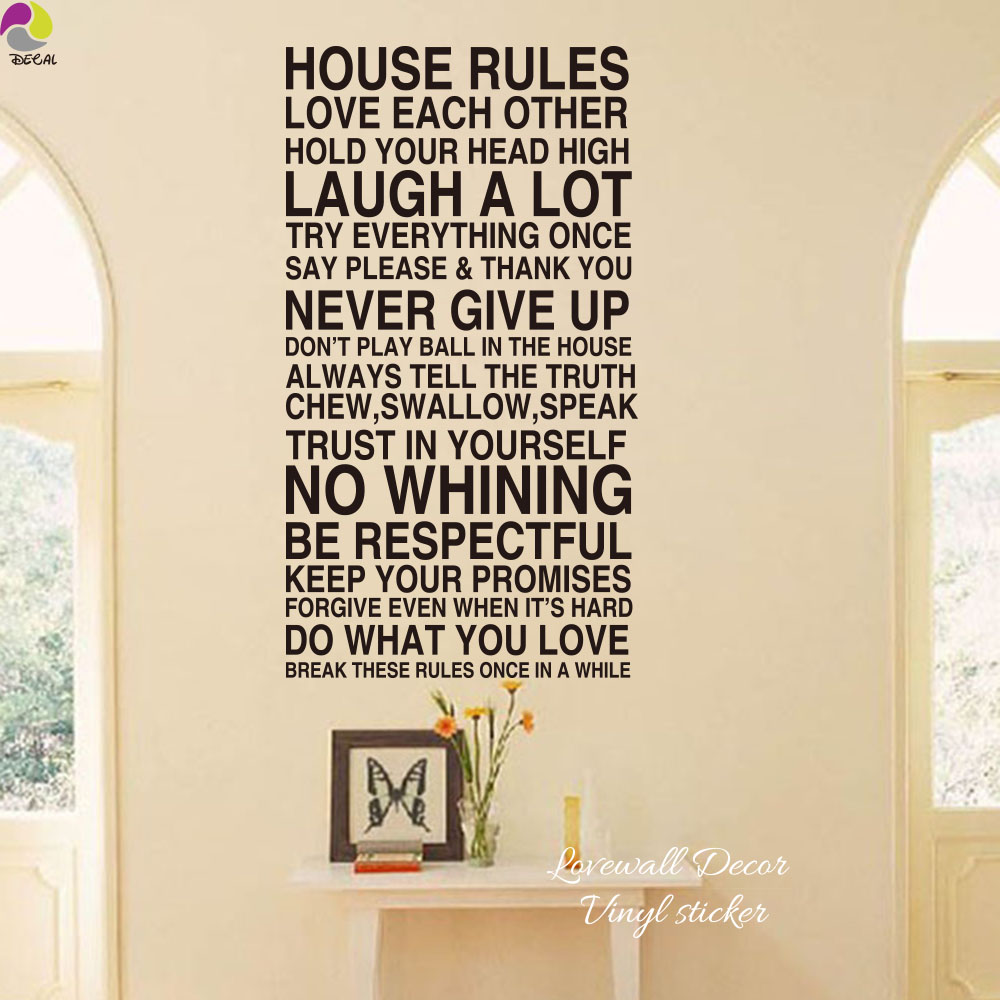 Large House Rules Quote Wall Sticker Living Room Bedroom Family Rules Love  Laugh Never Give Up Inspiration Quote Decal Vinyl In Wall Stickers From  Home ...