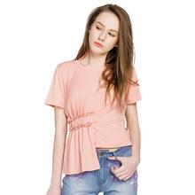 2017 summer new European style women personality pleated waist short sleeve solid T-shirt w245