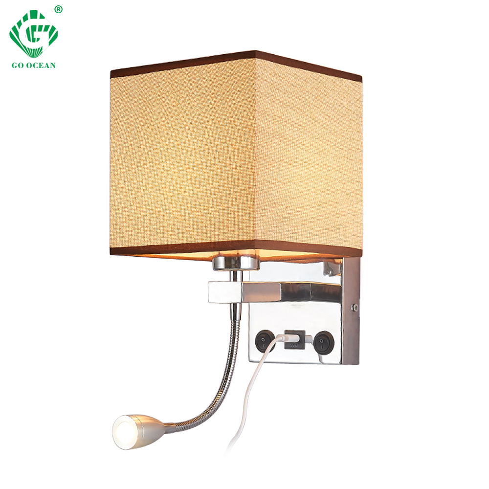 Modern Indoor Led Wall Lamp Bedside Bedroom Lique Sconce With Switch Usb E27 Bulb Interior Headboard Home Hotel Lights