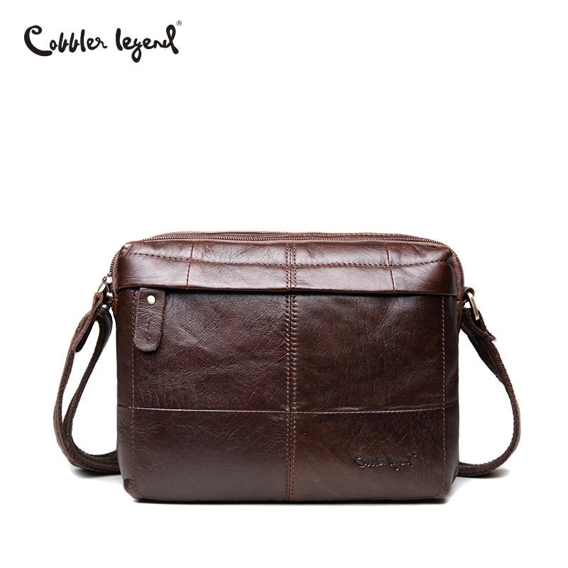 купить Cobbler Legend Business Mens Genuine Leather Shoulder Bag For Men Natural Cowskin Men Bag Vintage Handbag Cowhide Crossbody Bag по цене 1659.87 рублей