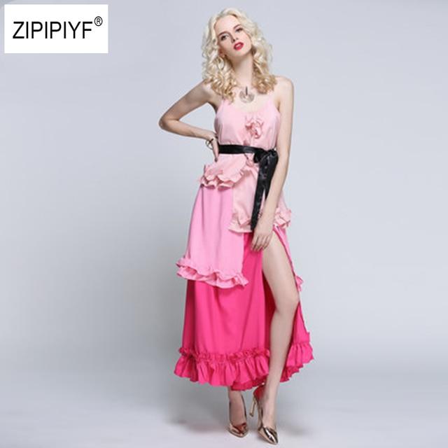 V neck ruffle Patchwork summer dress women Backless strap boho cake dress Sleeveless high split maxi beach dress vestidos B1103
