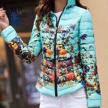 MAINROLES 2017 New Warm Wear Waddeds Jacket Female Winter Parkas Women Slim Print Casacos De lnverno Feminino plus Size 4XL Coat
