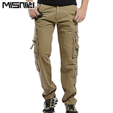 MISNIKI Top Fashion Solid Cotton Cargo Pants Men Casual Slim Workout Men Trousers Multi-pocket
