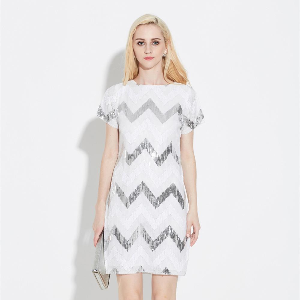 Халат волнистый узор геометрический прямой Винтаж Гэтсби блестки Потрясающие короткий рукав мини приталенные Женские коктейльные платья для вечеринок - Цвет: white