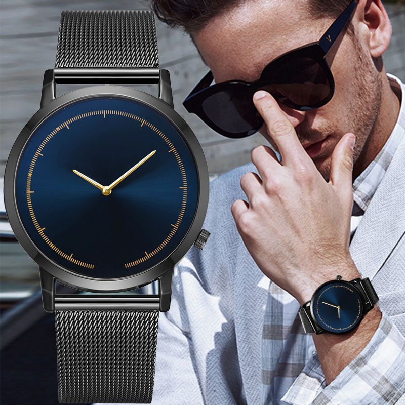 Mens Business Male Watch 2019 Fashion Classic Gold Quartz Stainless Steel Wrist Watch Watches Men Clock Relogio Masculino