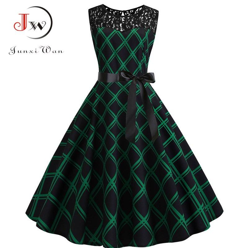 Lace Patchwork Floral Print Women Summer Dress Hepburn 50s 60s Elegant Vintage Dress Office Ladies A-Line Party Dresses Belt 6