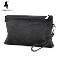 WILLIAMPOLO 2017 100% Cow Leather With Interior Slot Pocket iPad Holder Zipper Wallet POLO200