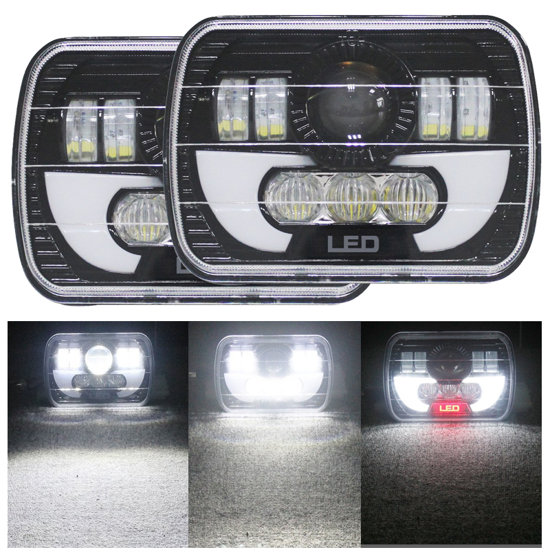 7x6 5x7 90W LED Projector Sealed Beam Headlight for Jeep Cherokee XJ Truck 4X4 Offroad 5x7 inch car auto drl led headlamp 5x7 7x6 led truck headlight high low beam square led headlight for jeep cherokee xj truck
