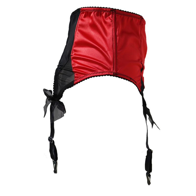 Image 2 - Red Satin Mesh Bow Fishbones Metal Buckles 4 Wide Straps Women/Female/Lady Sexy Garter Belts for stockings Suspender Belt S511R-in Garters from Underwear & Sleepwears