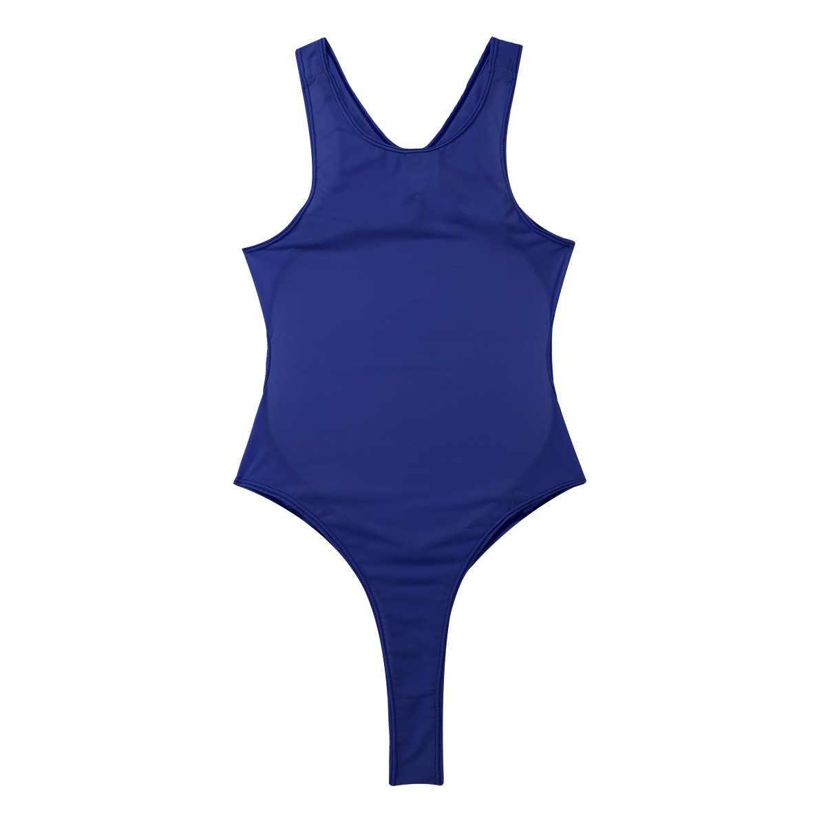 TiaoBug Volwassen Mouwloze Een stuk See Through Sheer Ondergoed Badpak Hoge Cut Backless Badmode Turnpakje Vrouwen Sexy Bodysuit