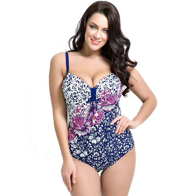 2017 New Plus Size Swimwear Women One Piece Swimsuit Girl Summer Sexy Bathing Suit Print One Piece Suits Beachwear plus size scalloped backless one piece swimsuit