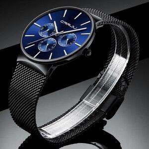 Image 3 - Reloj Hombreนาฬิกาผู้ชายCRRJUแบรนด์หรูนาฬิกากันน้ำUltra Thinวันที่นาฬิกาข้อมือชายตาข่ายCasualนาฬิกาควอตซ์