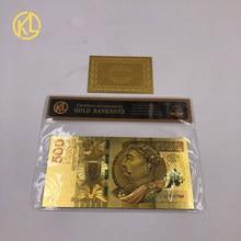 1 шт., уникальная цветная Золотая банкнота, польская банкнота, 500 злотых, чистая Золотая фольга, Банкнота для денег, Золотая Банкнота с рамкой COA для коллекции