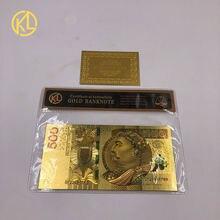 1 pc Colorido Único Ouro De Notas Polónia Pura Da Folha de Ouro banknote 500 PLN Quadro Para A Coleta de Dinheiro Bill Nota Ouro Com COA