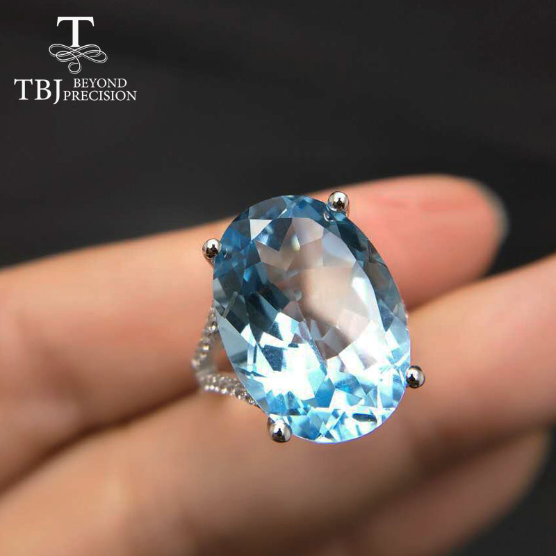 TBJ,Super Big gemstone Ring,Oval cut 13*18mm 15ct Blue topaz silver gemstone Ring for pary,eye's catching design with gift box