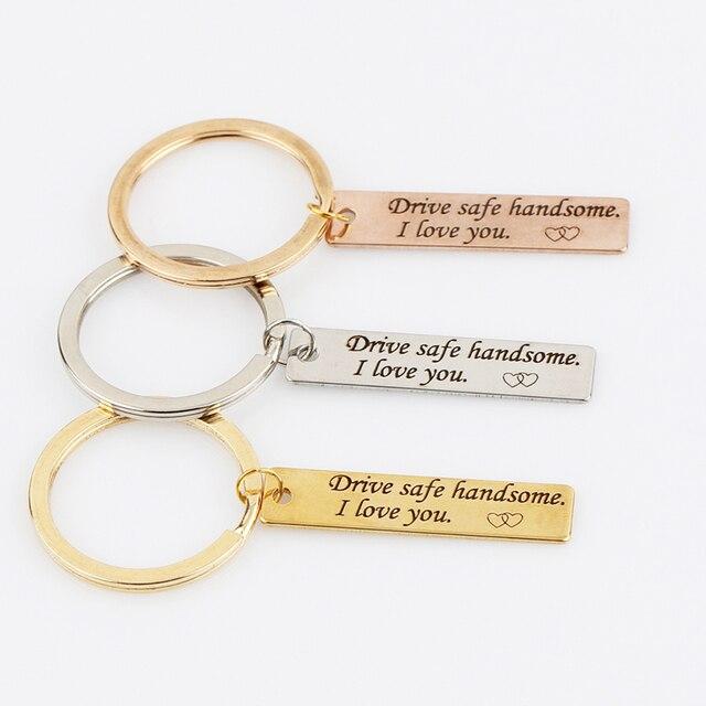 engraved keychain keys holder drive safe handsome i love you driver