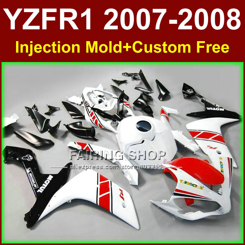 Pure white bodyworks for YAMAHA YZFR1 2007 2008 R1 fairing sets YZF R1 YZF1000 YZF 1000 07 08 fairings kits GF6R запчасти для мотоциклов yamaha yzf1000 r1 07 08