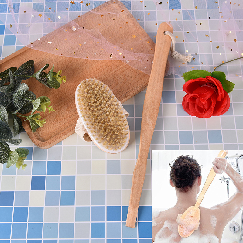 Bath Shower Exfoliating Wooden Handle Brush Massager Boar Bristles Body Skin Cleaning Long Brush